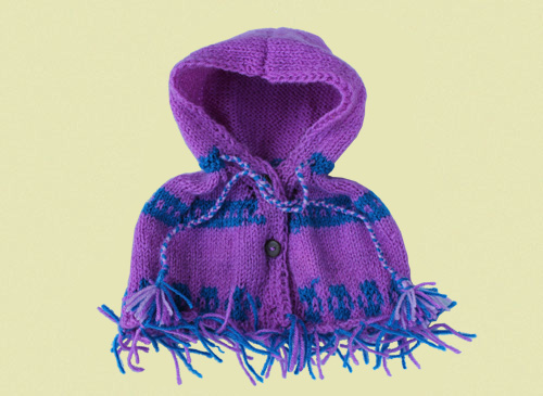 Hooded Woollen Poncho - Knitted Garment